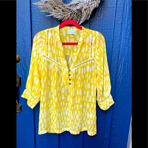 Anthropologie Dolan Yellow Flouncy Top 🌿 B8